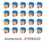 set of a technician faces... | Shutterstock .eps vector #673984222