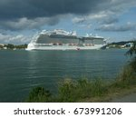 st. lucia a cruise ship docks... | Shutterstock . vector #673991206