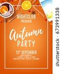 orange poster for autumn party. ... | Shutterstock .eps vector #673991338