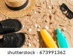 summer beachwear  flip flops ... | Shutterstock . vector #673991362