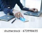 virtual screen interface with... | Shutterstock . vector #673998655