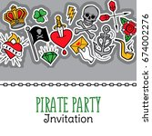 old school tattoo and pirate...   Shutterstock .eps vector #674002276