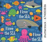 seamless pattern under the sea  ... | Shutterstock .eps vector #674003836