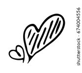 hand drawn heart vector icon or ... | Shutterstock .eps vector #674004556