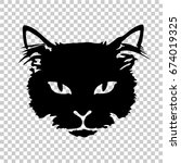 Stock vector silhouette black cat face print tattoo isolated on transparent background 674019325