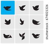 birds icons | Shutterstock .eps vector #674021326