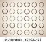collection of thirty circular... | Shutterstock .eps vector #674021416