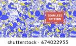 old school tattoo seamless... | Shutterstock .eps vector #674022955