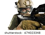 male in uniform of tactical... | Shutterstock . vector #674023348