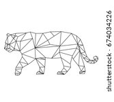 big wild cat of polygons | Shutterstock .eps vector #674034226