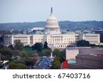 Stock photo washington dc aerial view with capitol hill building and street 67403716