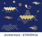 beautiful japanese seamless ... | Shutterstock .eps vector #674039416