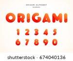 vector origami alphabet. number ... | Shutterstock .eps vector #674040136
