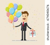 happy businessman with balloons ... | Shutterstock .eps vector #674040676