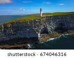 lighthouse on westray  on of... | Shutterstock . vector #674046316