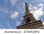 eiffel tower in paris against... | Shutterstock . vector #674052892