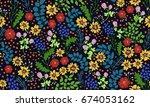 seamless folk pattern in small... | Shutterstock .eps vector #674053162