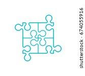 simple puzzle four piece... | Shutterstock .eps vector #674055916