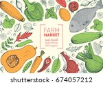 healthy food frame vector... | Shutterstock .eps vector #674057212