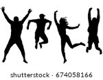 silhouettes of happy people... | Shutterstock .eps vector #674058166