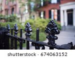 interesting iron fence with... | Shutterstock . vector #674063152