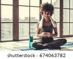 attractive afro american girl... | Shutterstock . vector #674063782