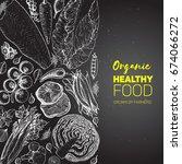 healthy food frame vector... | Shutterstock .eps vector #674066272
