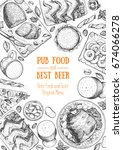 pub food frame vector... | Shutterstock .eps vector #674066278