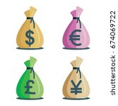 money bag vector icons ... | Shutterstock .eps vector #674069722