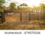 corral. brazilian farm in... | Shutterstock . vector #674070106