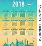 calendar for 2018 with famous...   Shutterstock .eps vector #674079472