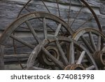 Old Wagon Wheels Leaning...