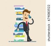 businessman stands next to a... | Shutterstock .eps vector #674083522