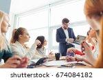 business man working at office... | Shutterstock . vector #674084182
