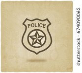 police badge symbol old... | Shutterstock . vector #674090062