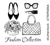 vector fashion black and white... | Shutterstock .eps vector #674096866
