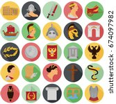 ancient rome color icons set... | Shutterstock .eps vector #674097982