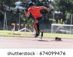 disabled man athlete training... | Shutterstock . vector #674099476