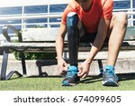 disabled man athlete ready for... | Shutterstock . vector #674099605