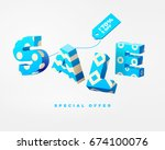 3d blue letter sale sign with... | Shutterstock .eps vector #674100076