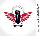 strong fist of a muscular man... | Shutterstock .eps vector #674102425