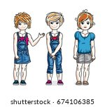 cute little girls standing in... | Shutterstock .eps vector #674106385