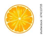 round slice of orange. isolated ... | Shutterstock .eps vector #674113735