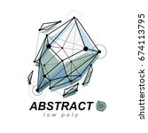 3d origami abstract mesh object ... | Shutterstock .eps vector #674113795