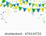 colorful party flags with... | Shutterstock .eps vector #674114722
