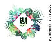 bright floral design template... | Shutterstock . vector #674118202