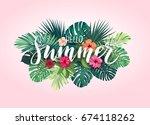 summer tropical design for... | Shutterstock . vector #674118262