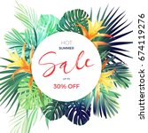 bright tropical sale flyer... | Shutterstock . vector #674119276