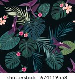 seamless tropical pattern with...   Shutterstock . vector #674119558