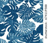 seamless pattern with monstera ... | Shutterstock . vector #674119588
